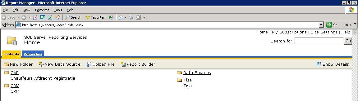 Roelofs en Schenk - Report Manager - Overzicht directories