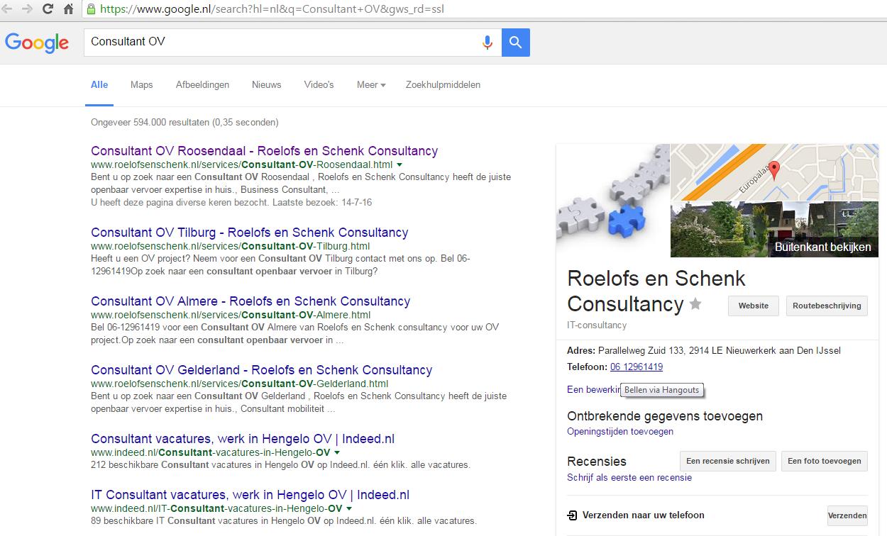 SEO Zoeken in Google op Consultant OV