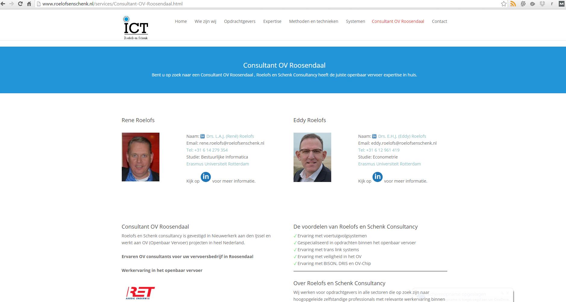 SEO Landingspagina voor Roelofs en Schenk Consultancy