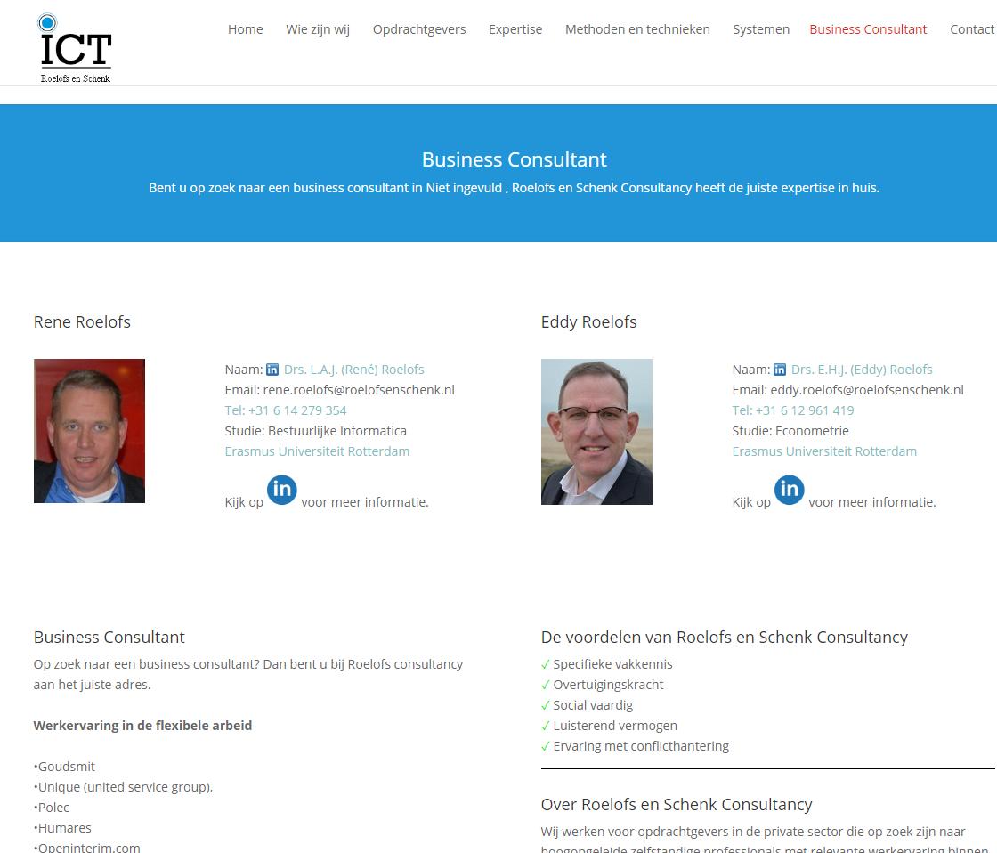 Gegenereerde SEO pagina voor Business Consultant van Roelofs en Schenk Consultancy