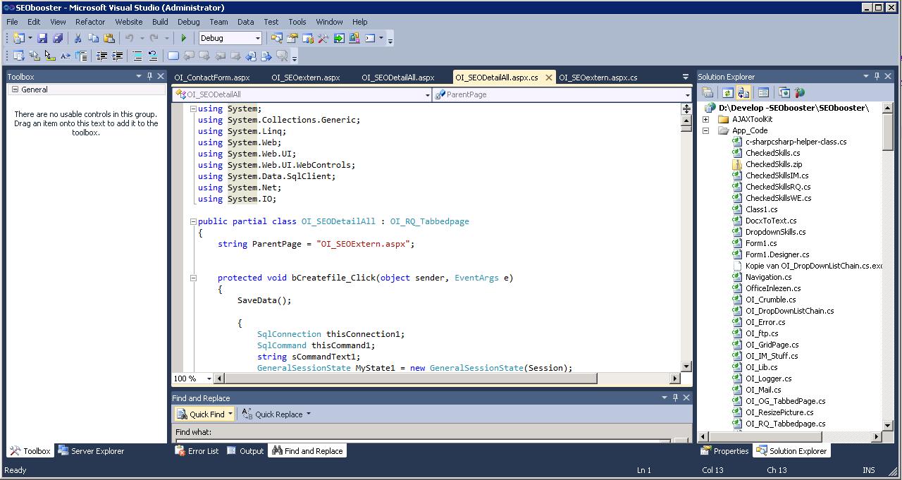Visual Studio voor het ontwikkelen van internet applicaties<